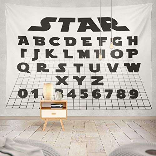 Galaxy Tapestry,AlriccTapestry Wall Tapestry Alphabet Font Letters and Numbers Futuristic War Star Movie Wall Hanging Tapeatry for LivingRoom Bedroom Decor 80