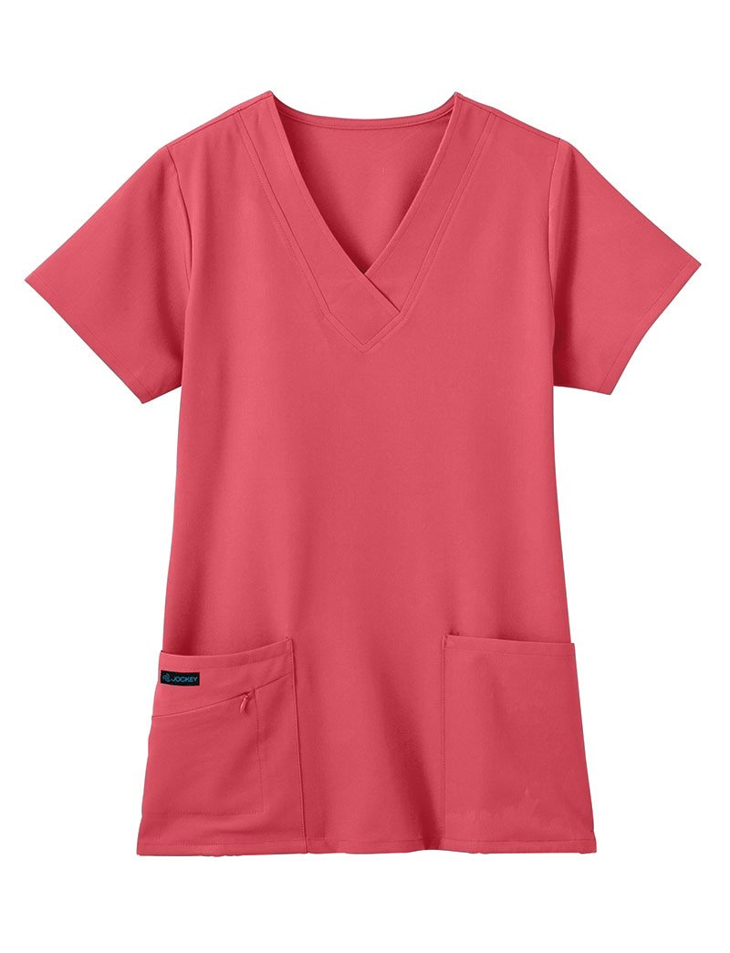 Classic Fit Collection by Jockey Women's Tri Blend Solid Scrub Top XXX-Large Hibiscus