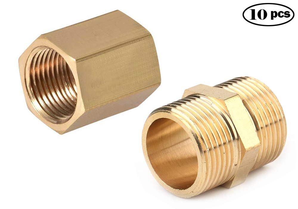 NPT Male and Female Thread Straight Hex Nipple NGe 10pcs 1//4 to 1//4 Brass Pipe Fitting