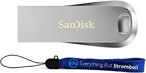 SanDisk Ultra Luxe 512GB USB 3.1 Flash Drive Works with Computer, Laptop, 150MB/s 512 GB PenDrive High Speed All Metal Storage Drive (SDCZ74-512G-G46) Bundle with (1) Everything But Stromboli Lanyard