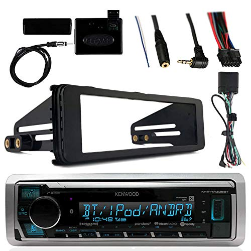 (Kenwood Marine Radio Stereo Bluetooth Receiver Bundle, 1998 2013 Harley Davidson Motorcycle Touring Flht Flhx Flhtc, Adapter Install Dash Kit, Handle Bar Control, Enrock Wire Antenna)