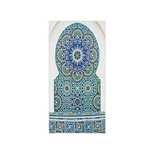 3D Decorative Film Privacy Window Film No Glue,Moroccan Decor,Ceramic Tile with Ancient East Pattern Decorative Tracery Heritage Architecture,for Home&Office