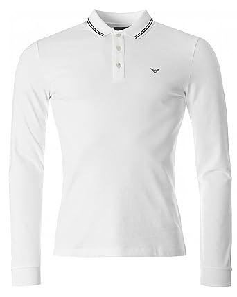 e5f31df7d ... where to buy giorgio armani armani mens pique cotton long sleeve polo  shirt white l aeaa3