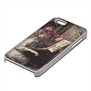 Renoir - Young Girls At The Piano 2, Custom Design Blanco PC Ultradelgado Caso Duro Carcasa Funda Protección Tapa Hard Case Cover con Diseño Colorido para Apple iPhone 5 5S.