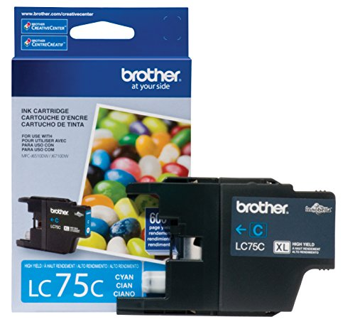 Brother Printer LC75C High Yield XL Series Cartridge Ink - Retail Packaging (Cyan Brother Ink)