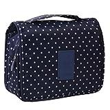 Deep Blue Polka Dot Cosmetic Foldable Storage Bag Handbag
