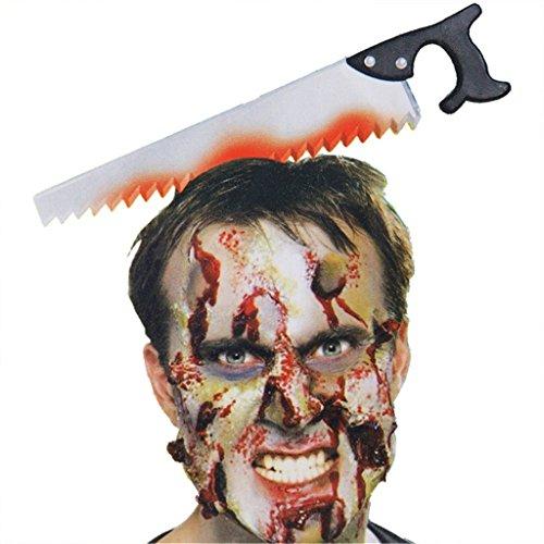 HMILYDYK Halloween Horror Saw Joke Cross Head Hairband Headband Bloody Plastic Weapon Party Decoration ()