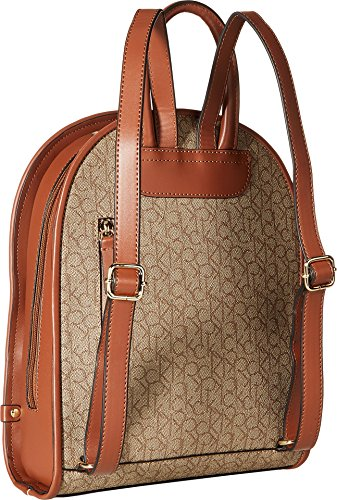 Brown Textured Womens Calvin Khaki Monogram Luggage Mini Backpack Klein ZnqA07P
