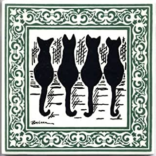 product image for CAT Tile - CAT Wall Plaque - CAT TRIVETS with Jade Victorian Border