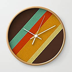 Society6 Retro 70s Color Palette Wall Clock Natural Frame, White Hands