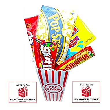 Movie Night Popcorn and Candy Gift Basket Plus 2 Free Redbox Movie Rentals ~ Includes Movie Theater Butter Popcorn and Concession Stand Candy and a Gift Card for 2 Redbox Movie Rentals (Sweedish Fish)