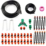 Ohuhu Drip Irrigation Kit Plant Watering System, 1/2' & 1/4' Heavy Duty Tube 33 FT Each, 2 Different Drip Irrigation Emitters Drippers, Water-Saving System