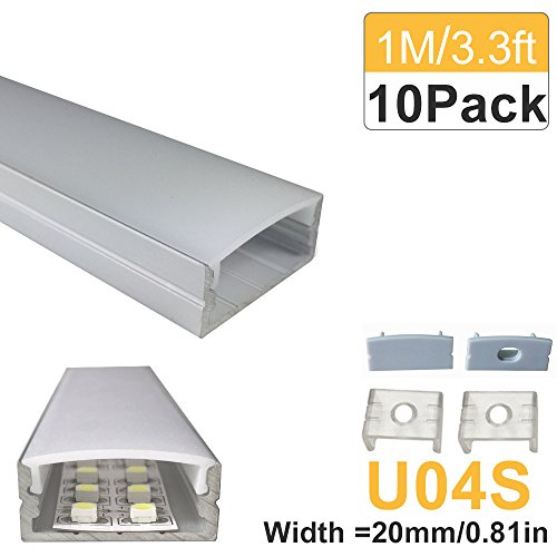 LightingWill 10-Pack U-Shape LED Aluminum Profile 3.28ft/1M Anodized Sliver Channel for <20mm width SMD3528 5050 LED Strips Installation with Opaque Frosted Lens, End Caps and Mounting Clips U04S10
