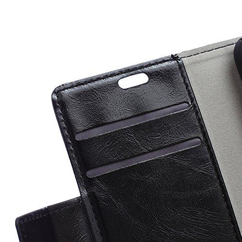 Lusee® PU Caso de cuero sintético Funda para Alcatel A3 XL 6.0 Pulgada Cubierta con funda de silicona botón caballo Loco patrón Rosa caballo Loco patrón negro