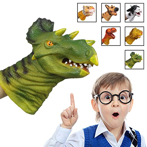 [Triceratops]Dinosaur Hand Puppet, Bagvhandbagro Soft Rubber Hand Puppet Perfect Gift for Kids