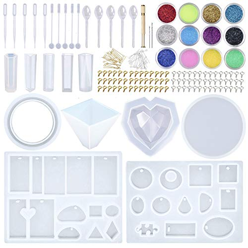 EuTengHao 178Pcs DIY Casting Silicone Resin Molds Kit Contains Glitter Powder Jewelry Necklace Pendant Resin Molds Big 3D Heart Resin Mold Round Tray Silicone Mold with Making Tools Spoons Droppers