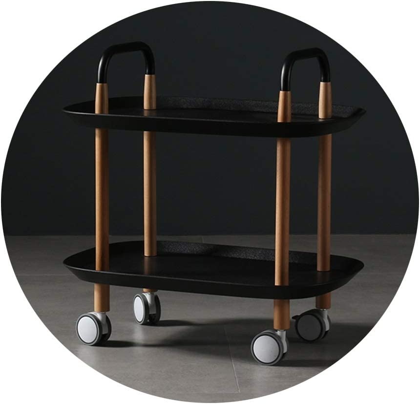 GXYAWPJ 保存できる小さな木製のカート、から選択する4色のユニバーサルホイール(58x37x59cm)を移動させることができます (Color : Black)