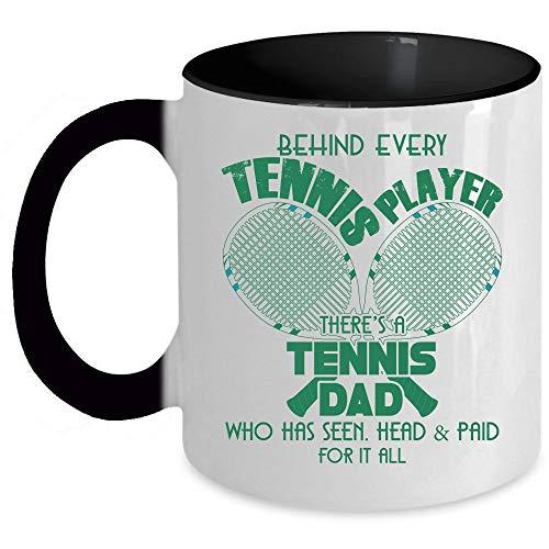 Cool Dad Coffee Mug, Behind Every Tennis Player There's A Tennis Dad Accent Mug (Accent Mug - Blue) - Mug 11 oz accent mug - black