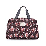 Women Lady Floral Duffel Totes Sport Bag Sports Travel Luggage Gym Fitness Bag Brown
