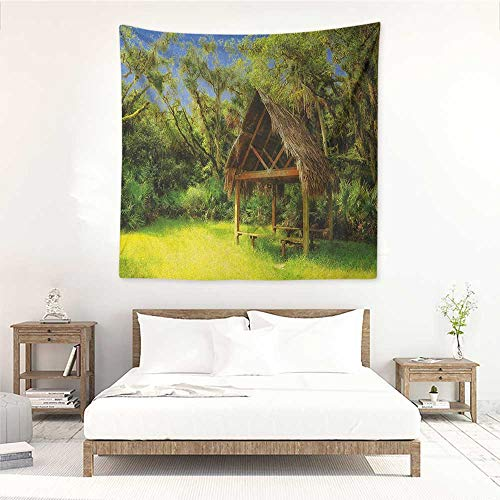 Tiki Bar DIY Tapestry Tiki Hut in Dreamy Fantasy Forest Tropical Island Wildlife Greenery Art Tapestry for Home Decor 55W x 55L INCH Green Blue Brown]()