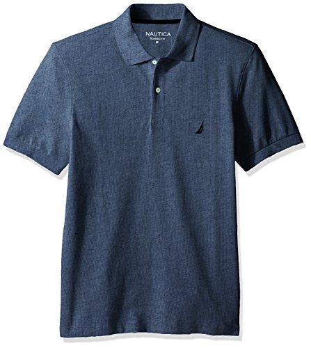 (Nautica Men's Short Sleeve Solid Cotton Pique Polo Shirt, Deep Anchor Heather XX-Large)