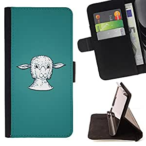 Lamb Head Portrait White Farming Animal - Painting Art Smile Face Style Design PU Leather Flip Stand Case Cover FOR HTC Desire 820 @ The Smurfs