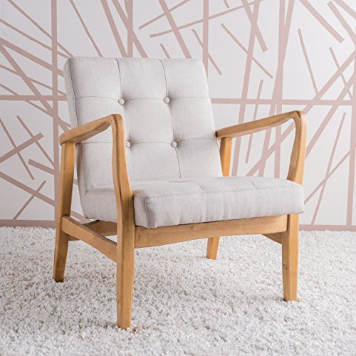 GDF Studio 300071 Conrad Medium Beige Fabric Mid Century Modern Club Chair,