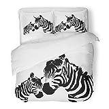 SanChic Duvet Cover Set Animal Zebra Mother Child Africa Silhouette African Black White Decorative Bedding Set 2 Pillow Shams King Size