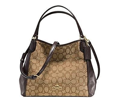 COACH EDIE SHOULDER BAG 28 IN SIGNATURE JACQUARD (Light Gold Khaki Brown) 3250987bbce34