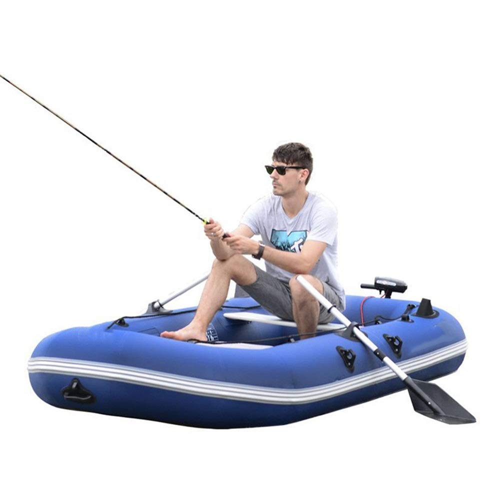 Durability Inflatable Kayaks Durable Outdoor Inflatable Boat 3 People Thick Hard Bottom Boat Assault Boat Fishing Boat Drift Boat Kayak Rubber Inflatable Boat (Color : Blue, Size : 265x134cm) by BoeWan