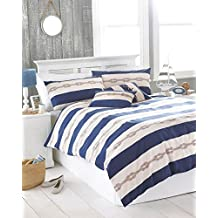 NAUTICAL KNOT NAVY BLUE CREAM CANADIAN FULL (200CM X 200CM - UK DOUBLE) COTTON BLEND COMFORTER COVER SET