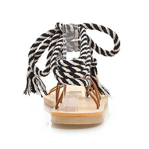 Donna Sandali Cinturino Black Scarpe TAOFFEN 1qwO6ZO