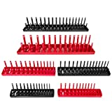Thorbuyys 6PCS Socket Organizer Tray Set Red SAE & Black Metric Socket Storage Trays 1/4-Inch 3/8-Inch & 1/2-Inch Drive Deep and Shadow Socket Holders for Toolboxes