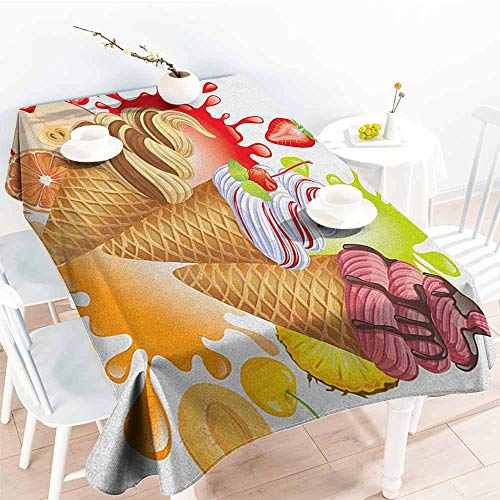 (Willsd Resistant Table Cover,Ice Cream Various Flavors Tasty Summer Dessert with Peach Apricot Strawberry Sorbet Print,Modern Minimalist,W54x90L Multicolor)
