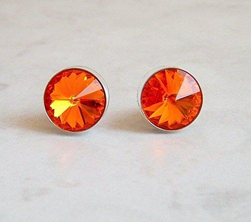 Round Swarovski Crystal Ear Stud Post Earrings Stainless Steel Tangerine Orange Color Gift Idea - Fanta Girl Costume