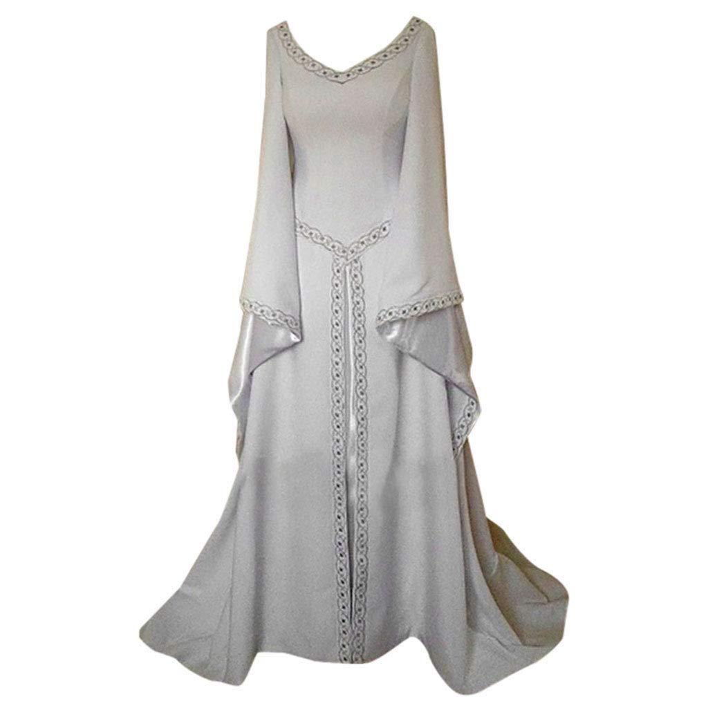 miqiqism Plus Size Medieval Dress Women Renaissance Victorian Costume Retro Flared Long Sleeve Princess Fancy Dresses Clothes (S, White)