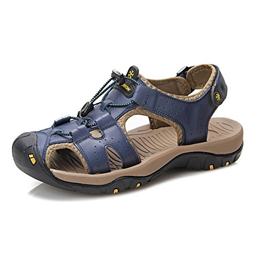 Bleu 40 EU JIALUN-des sandales Sandales de Plage pour Hommes Confortables coupant en Cuir véritable Criss Cross Lace Semelle Souple antidérapante Sandale à Bout fermé