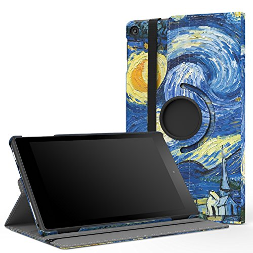 MoKo Case for All-New Fire HD 8 2017 / Fire HD 8 2016 - 360 Degree Rotating Cover