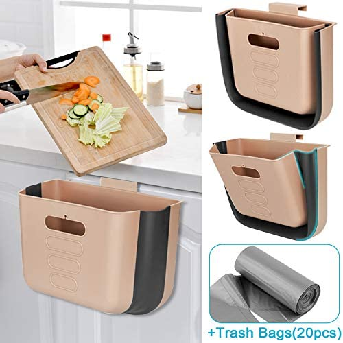 Small Kitchen Trash Can Hanging Cabinet Trash Can Collapsible Garbage Can Plastic Portable Trash Bin For Kitchen Bathroom Office Car Dorm Restroom Camping Wall Mounted Compact Trash Container Brown Savesoo Com