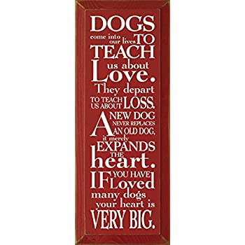 Amazoncom Wooden Sign Dogs Come Into Our Lives To Teach Us About