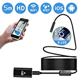 Wifi Endoscope Camera, Pococina USB Waterproof Borescope Inspection 2.0 Megapixels HD 8 LED Lights Snake Camera for Android and IOS Smartphone, Tablet (5 M)