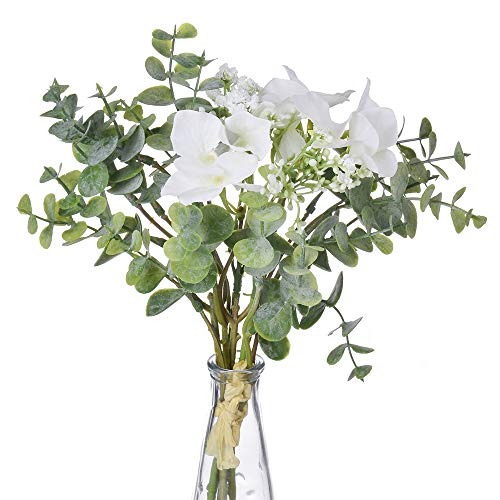 Anna Homey Decor Pack of 1 Bundles Silk Flowers with Stems,Contains 3 Orchids Baby Breath Flowers, 3 Eucalyptus Leaves Fake Flowers for Home, Table, Wedding, Party, Meeting Room Decoration(White) (Willows Silk Pussy)