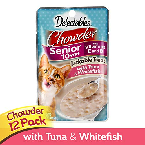 Hartz Delectables Lickable Cat Treat for Senior Cats, Chowder, Tuna & Whitefish, 1.4 oz (Pack of 12)