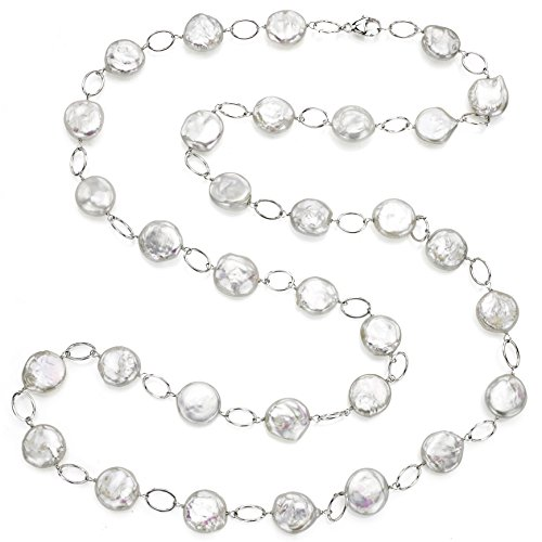 Sterling Silver 12-12.5mm Coin Shape White Freshwater Cultured Pearl Oval Link Necklace, 36