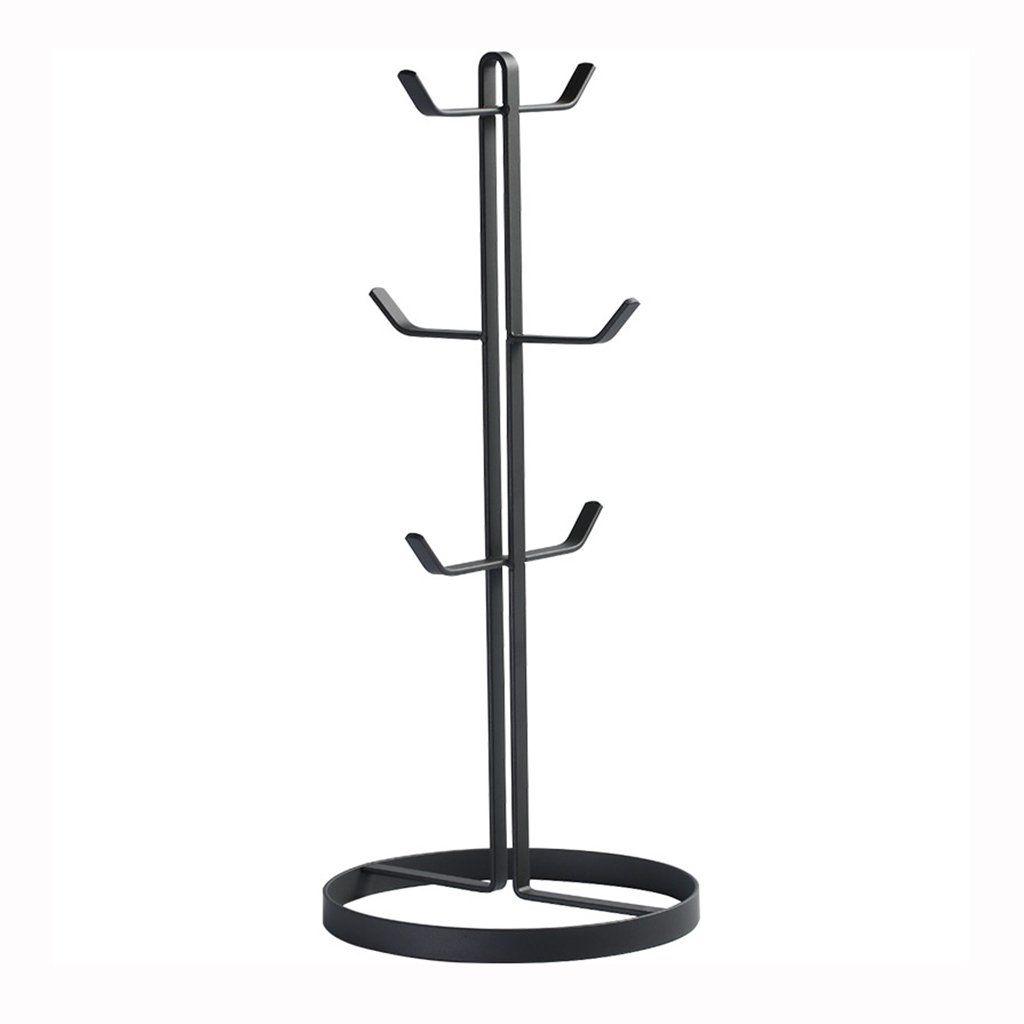 He Xiang Firm Wrought Iron Cup Holder Drain Rack Round Bottom Mug Rack Coffee Cup Holder 6 Home Creative Multi-Functional Rack (Color : Black)