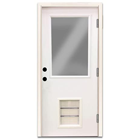 32 In Premium 12 Lite Primed White Steel Left Hand Outswing Entry