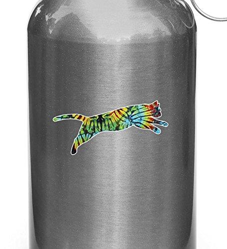 Rainbow Tie Dye Cat Jumping - D1 - Vinyl Decal Sticker for Reusable Water...