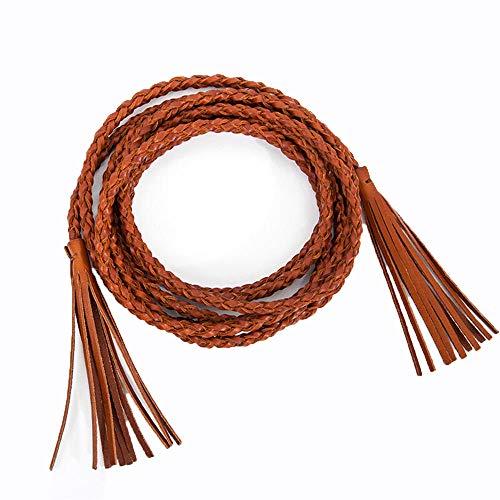 Fashion retro ladies belt hand-woven double-loop leather fine decorative skirt sweater tassel waist chain simple belt leather, 60-70cm, yellow