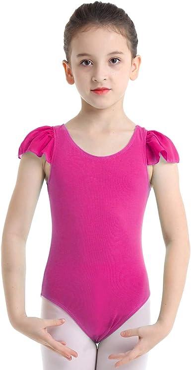 dPois Fille Justaucorps de Gymnastique Danse Sport Leotard Fille Enfant Combinaison Fitness Gym Yoga Ballet Esth/étique Body /à Bretelles Crois/ées Dancewear 5-14 Ans
