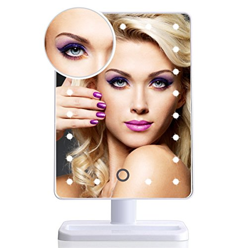 EOS&HELIOS 20 Led Lighted Makeup Mirror with Removable 10x Magnifier Batteries Include (Helios Switch)